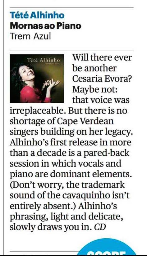 Sunday Times review - Tété Alhinho - Mornas ao Piano (August 2017)