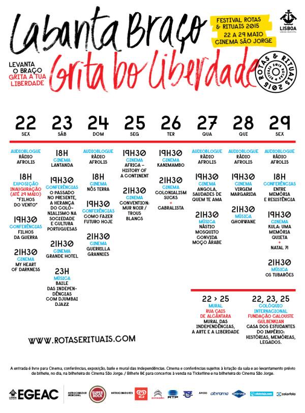 Programa do Festival Rotas Rituais - 2015 Labanta Braço Gritá Bô Liberdade